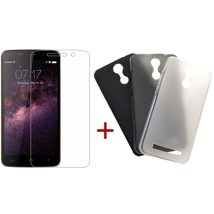 HomTom HT17/HT17 Pro Tempered Glass Screen Protector & Silicone Case